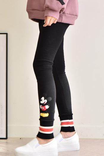 16c94114338 (디즈니정품)미키마우스 요꼬레깅스)피치기모원단/밑단배색시보리/미키마우스쫄바지/프린팅나염/프린트/9부/기본/일자쫄팬츠